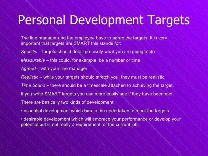Personal Development Plan & Targets