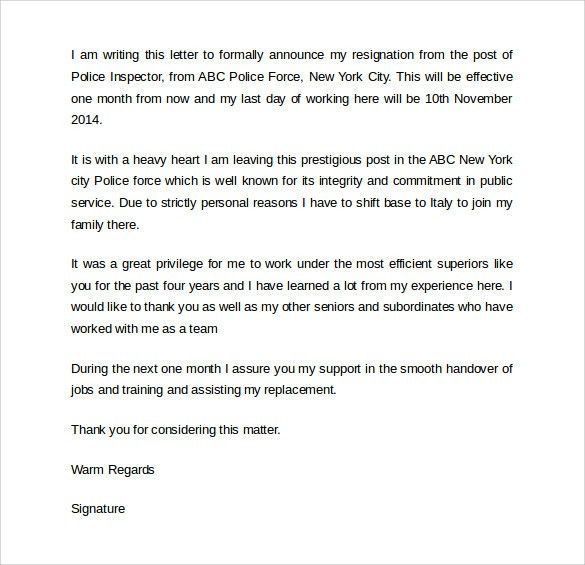 Sample of Good Resignation Letter - SampleBusinessResume.com ...