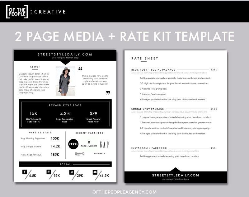 3-Page Media Kit Template | Press Kit for Bloggers & Influencers ...