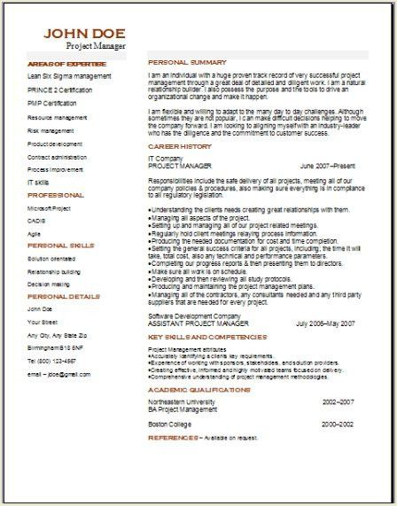 Project Management Resume, Occupational:examples,samples Free edit ...