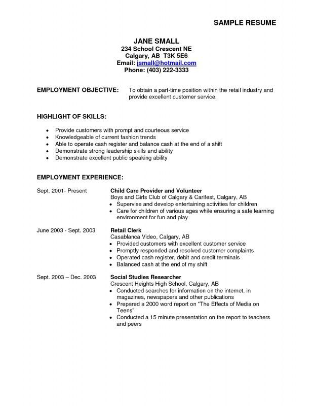 part time job resume examples high school student cover letter for ...