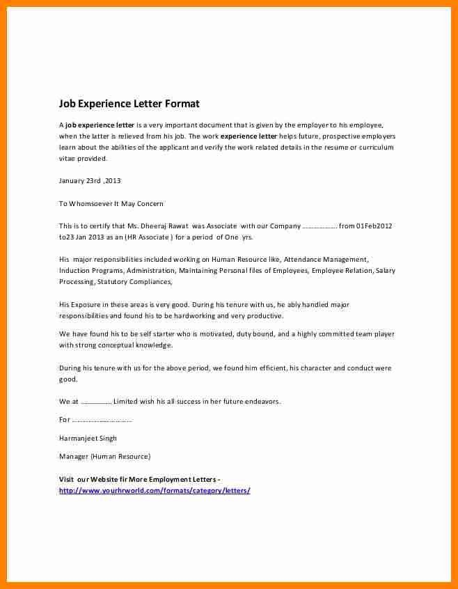 4+ work experience certificate format pdf | job resumed