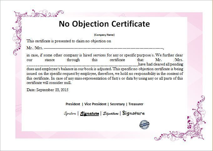Format Of No Objection Certificate For Passport [Template .  Format Of No Objection Certificate For Passport