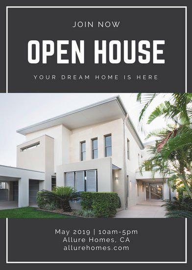 Black and White Minimalist Open House Flyer - Templates by Canva