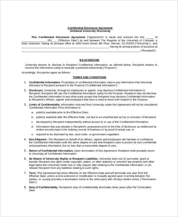 10+ Confidential Disclosure Agreement Templates – Free Sample ...