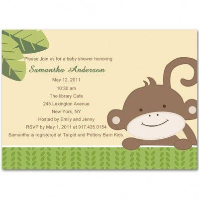 13 best Monkey Baby Shower Invitations images on Pinterest ...