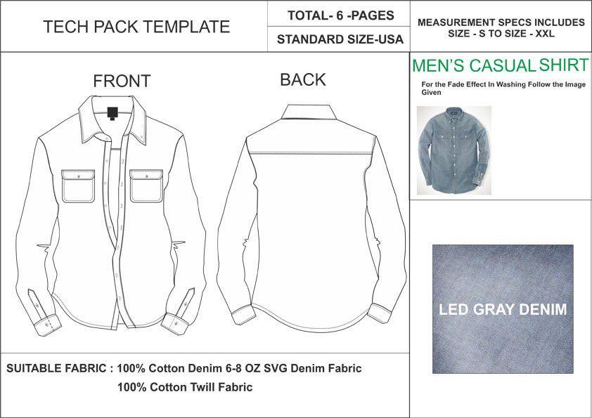 Tech Pack Template Formal Short Sleeves Button Down Shirt USA.