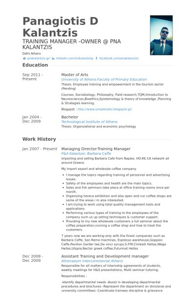 Training Manager Resume samples - VisualCV resume samples database