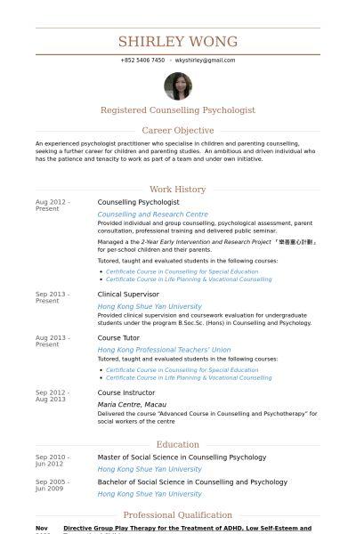 Psychologist Resume samples - VisualCV resume samples database