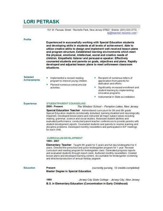 example of resume format for teacher free homeroom teacher resume ...