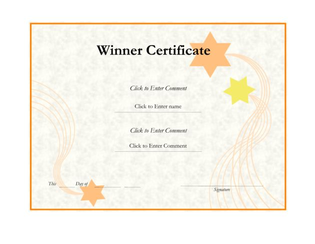 Editable Winner Certificate Template Design by lizzy2008 : Helloalive