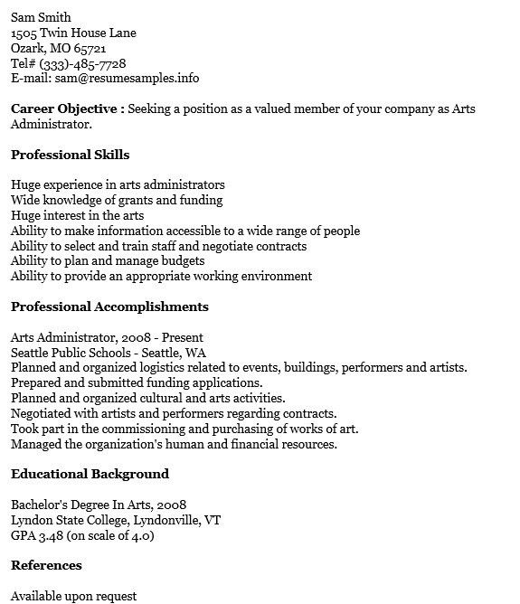 art administrator resume arts administration resume arts