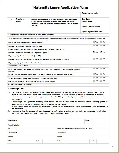 Maternity Leave Application Form | Document Templates