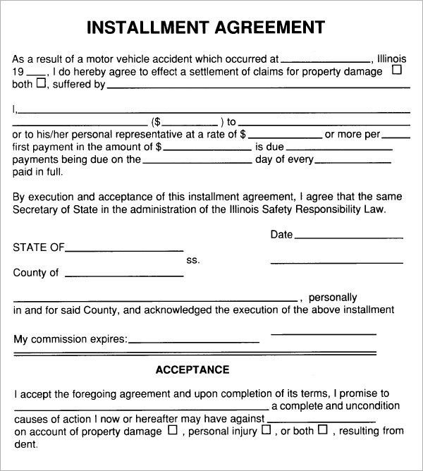 Installment Payment Agreement Template | Best Example Of Business ...
