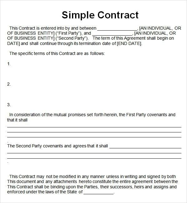Simple Contract Template | ossaba.com