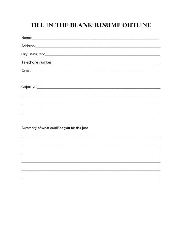 Resume To Fill Out And Print. basic resume templates browse ...