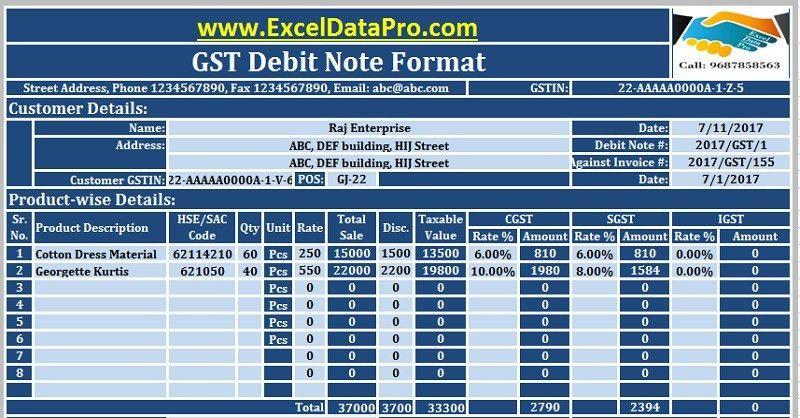 Download GST Debit Note Format In Excel Under GST 2017 - ExcelDataPro