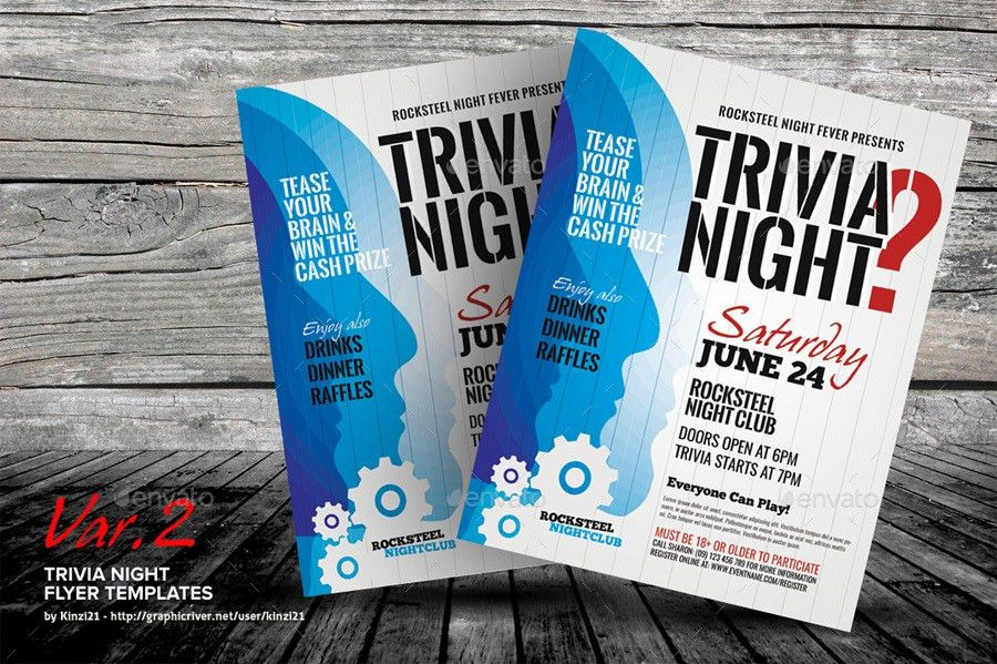 Trivia Night Flyer Templates by kinzi21 | GraphicRiver