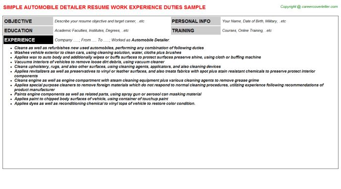 Automobile Detailer Resume Sample