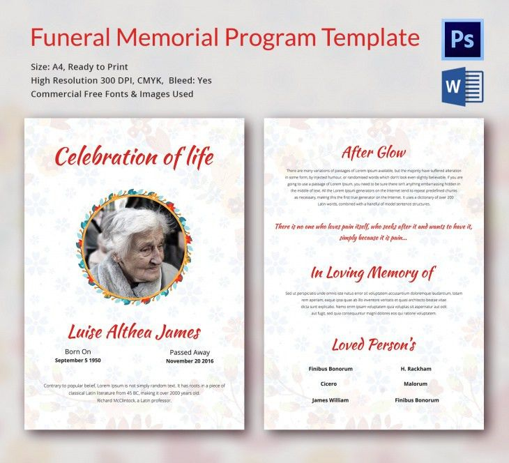 5 Funeral Memorial Templates – Free Word, PDF, PSD Documents ...