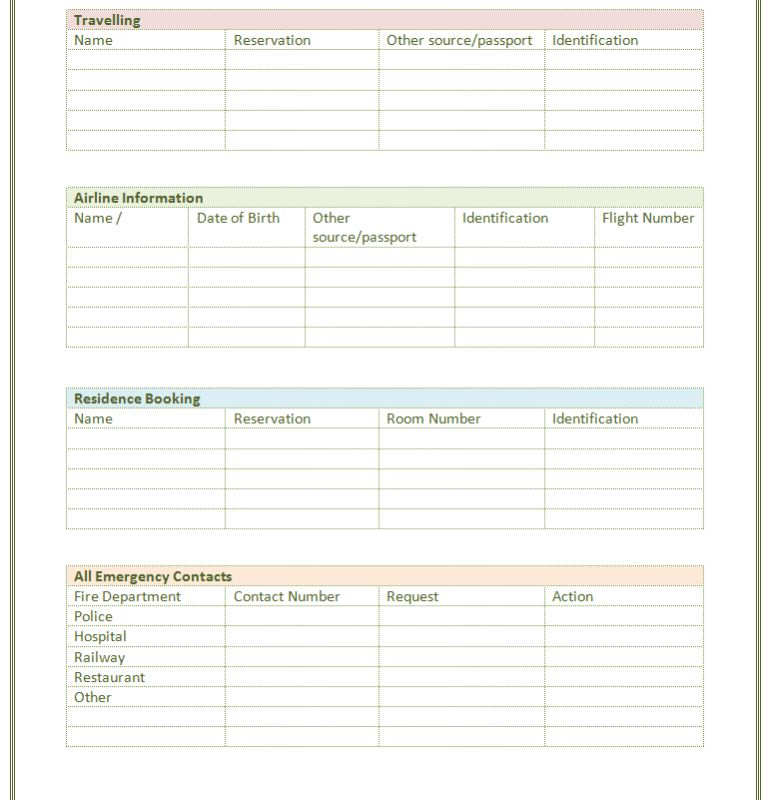 Paper Contact List Template | Print Paper Templates