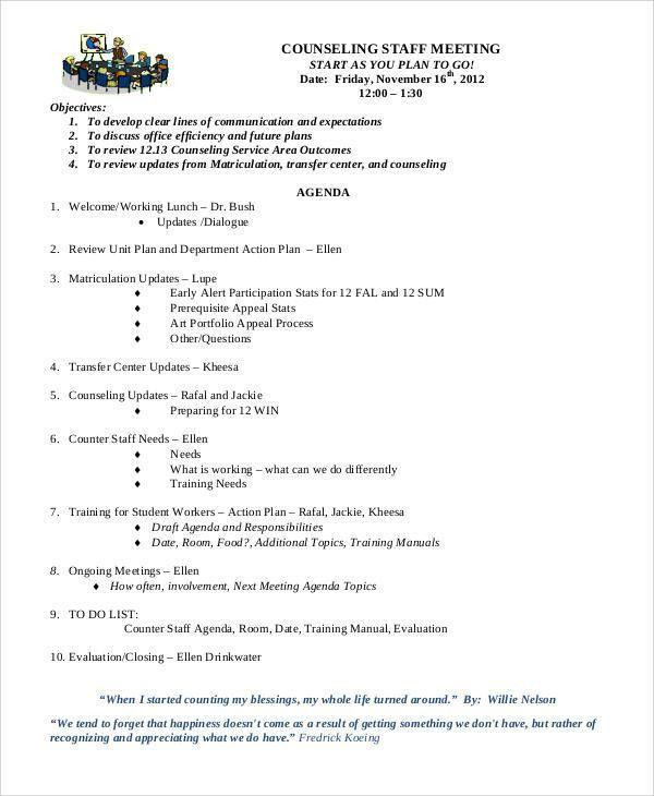 Meeting Agenda Sample - 30+ Examples in Word, PDF