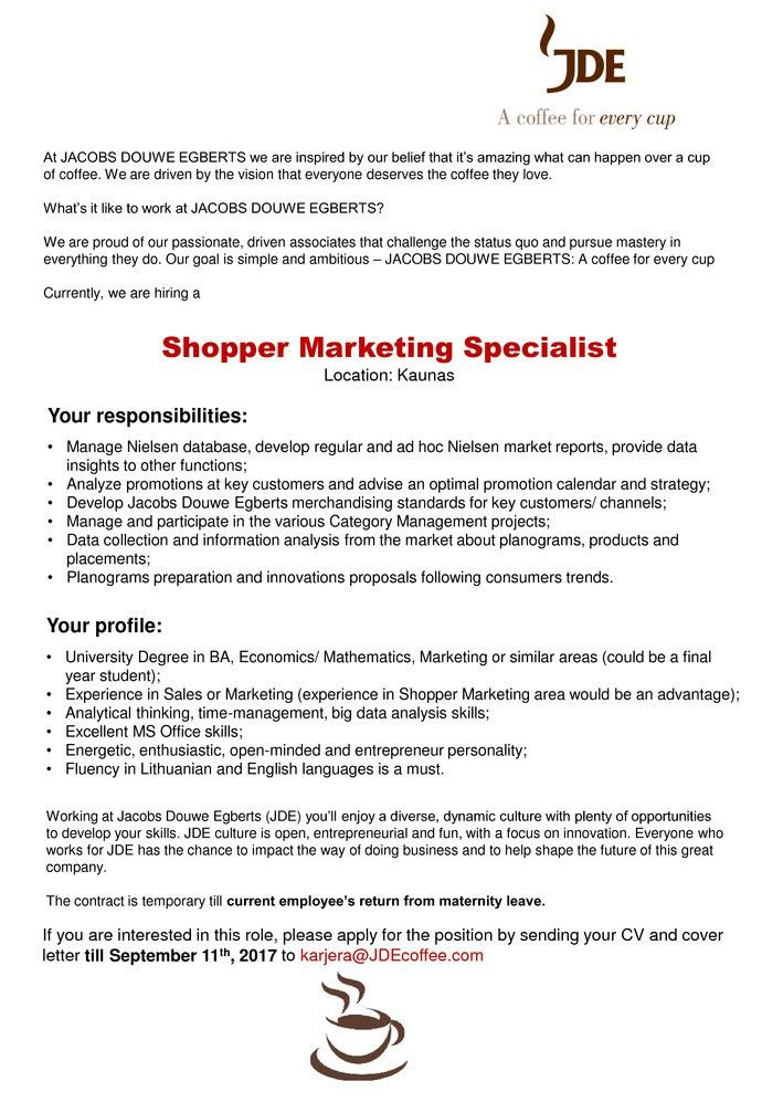 Cover letter marketing specialist