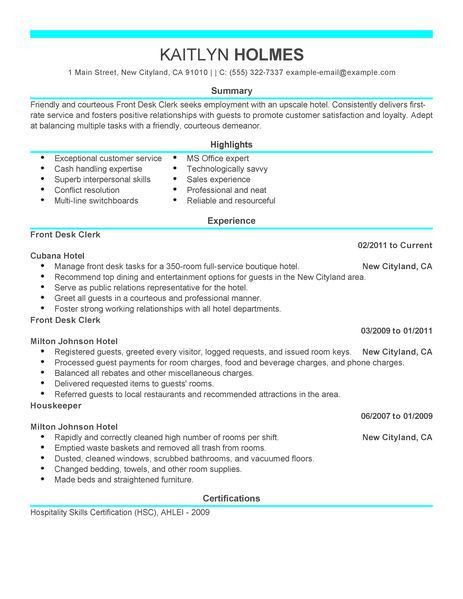 Best Front Desk Clerk Resume Example | LiveCareer
