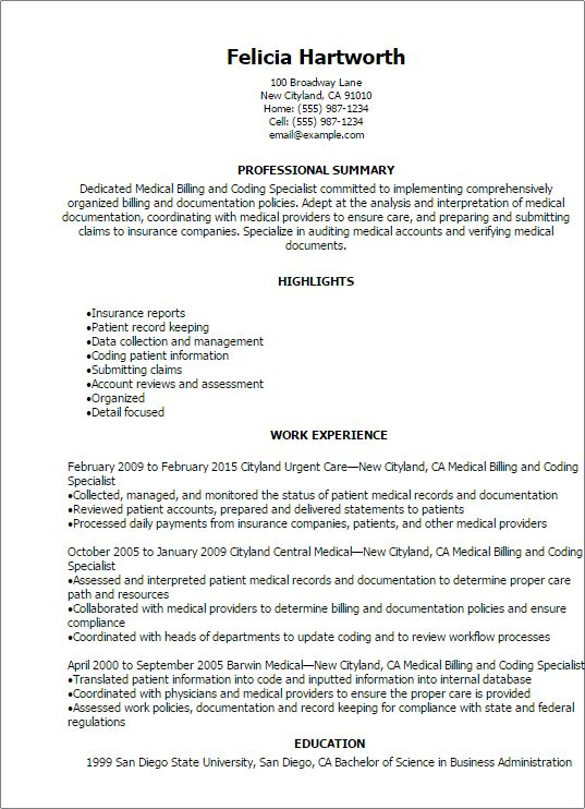 Professional Medical Billing And Coding Specialist Resume ...