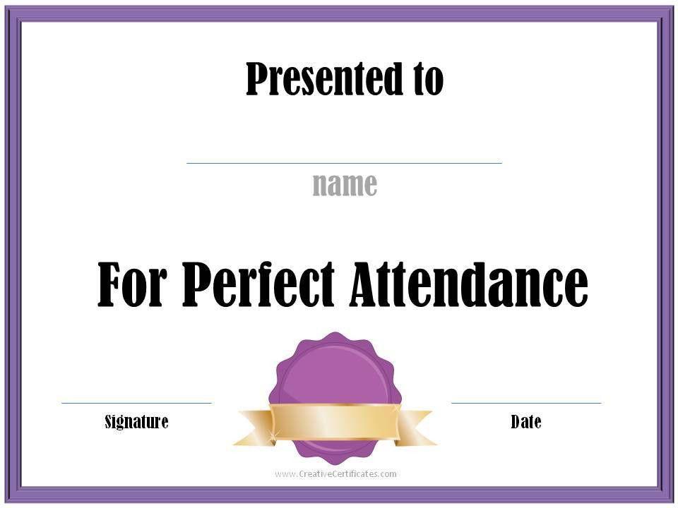 Perfect Attendance Award Certificates