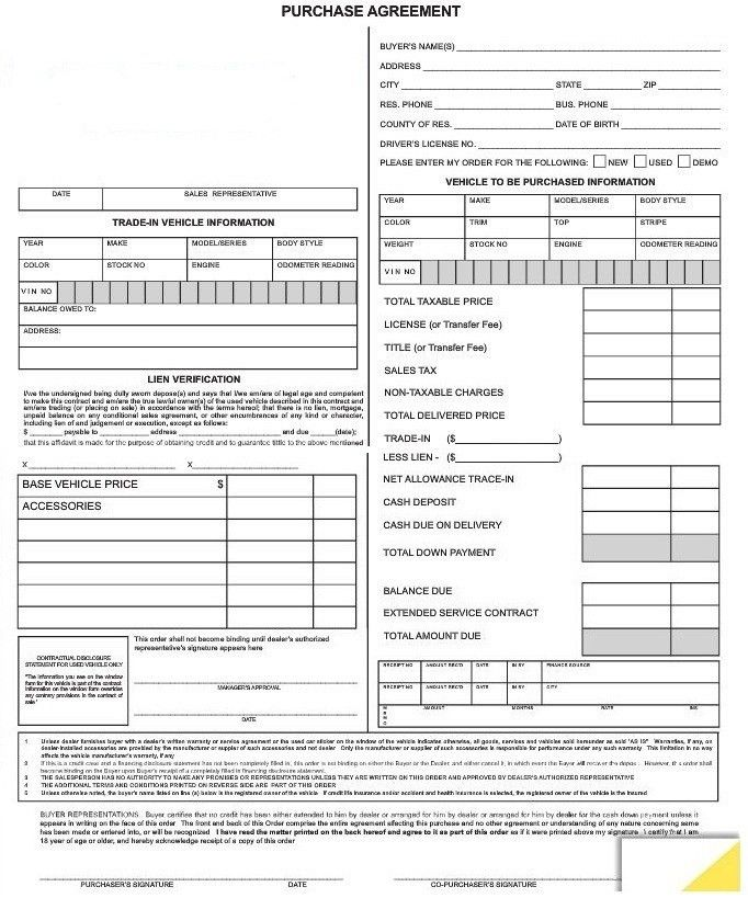 Purchase Agreement Forms #7382 | AutoDealerSupplies.com is your #1 ...