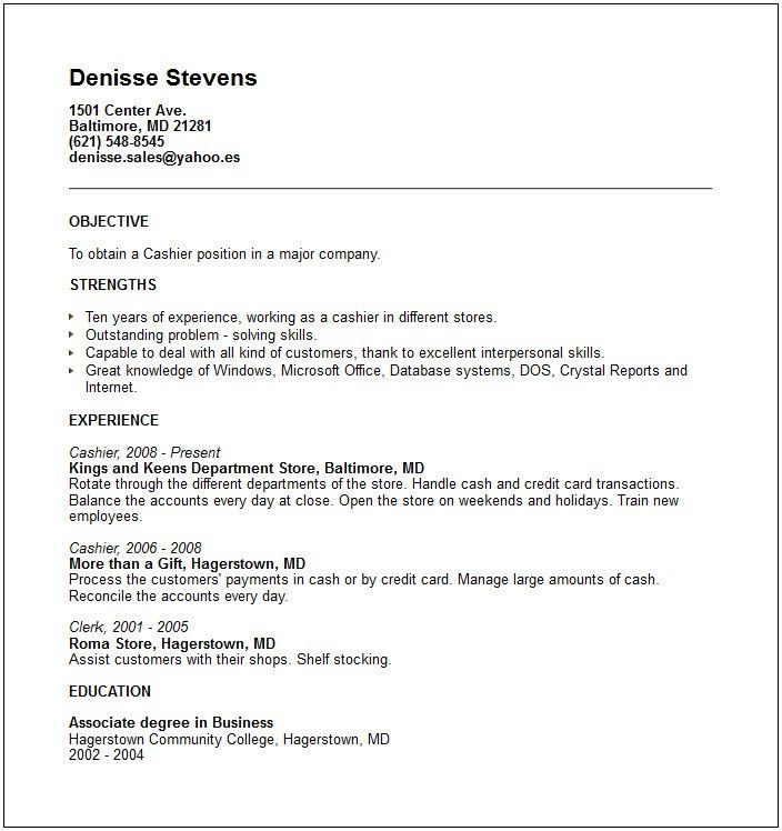 image result for resume examples for cashier. sample resume for ...
