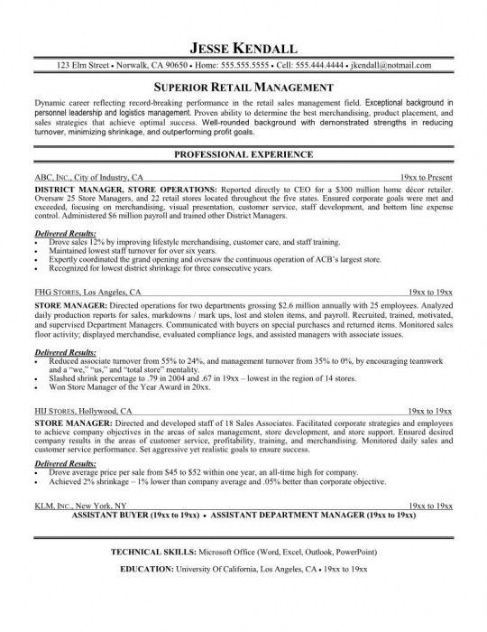 The Incredible Sample Resume For Retail Manager | Resume Format Web