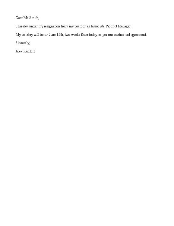Sample Short Notice Resignation Letter : Vntask.com