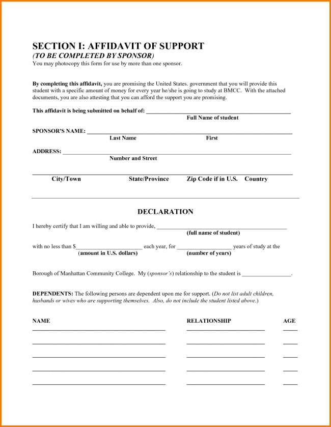 Printable Affidavit Form Template Example with Blank Filled Text ...
