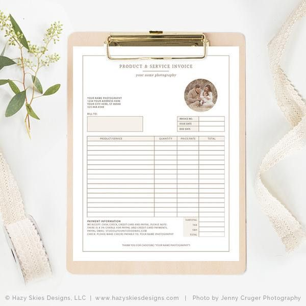 Photography Invoice Template Photoshop, Photography Receipt ...