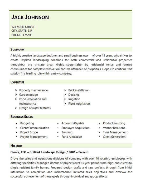 Landscaping Resume Example - Landscape Design Business