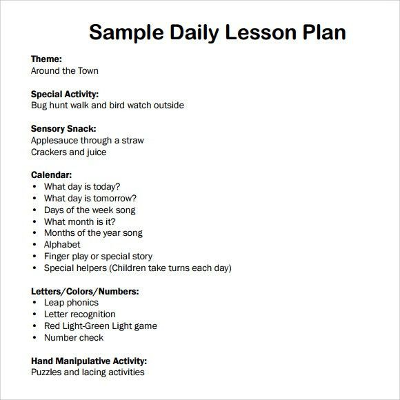 Sample Daily Lesson Plan - 6+ Documents in PDF