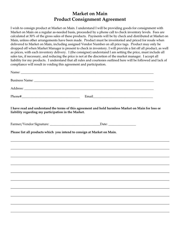 Consignment Agreement Form in Word and Pdf formats