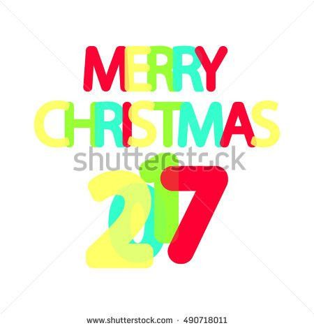 Merry Christmas 2017 Word Design Banner Stock Vector 490718011 ...