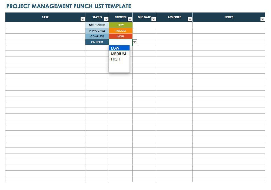 Free Punch List Templates   Smartsheet