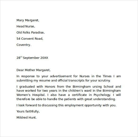 Employment Cover Letter. General Employment Cover Letter Example ...