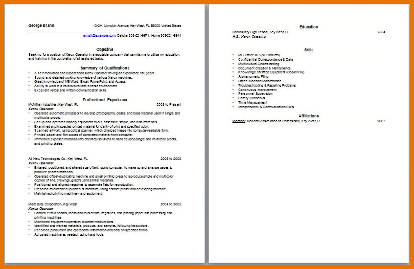 Xerox Operator Resume Simple Resume For Machine Operator Job - xerox operator resume