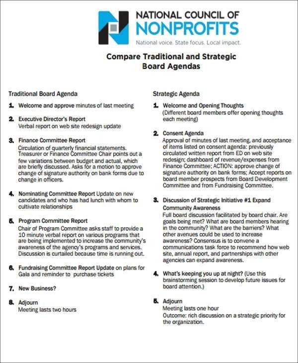 Board Agenda Templates - 9+ Free Word, PDF Format Download | Free ...