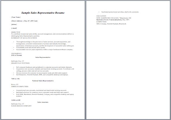 Resume Sales Representative Job Description Sample ...
