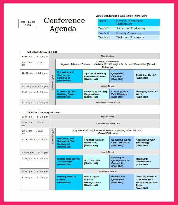 conference agenda template | bio letter format