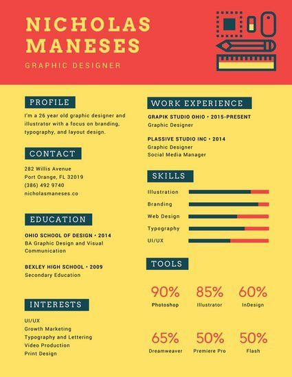 Colorful Orange Yellow Icons Infographic Resume - Templates by Canva