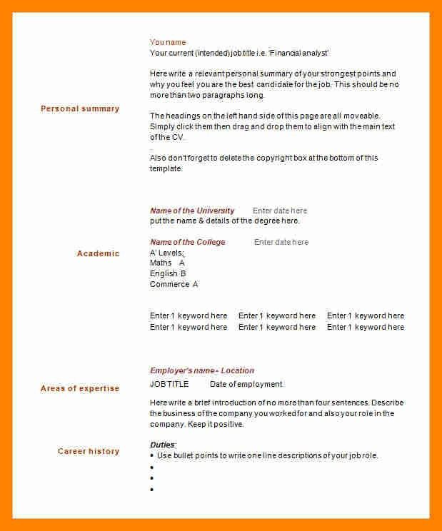 6+ 1 page resume template | resume sections