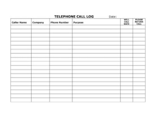 Top 5 Resources To Get Free Call Log Templates - Word Templates ...