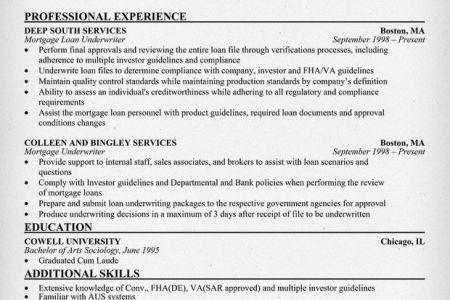 underwriter resume sample x loan mortgage underwriter example ...